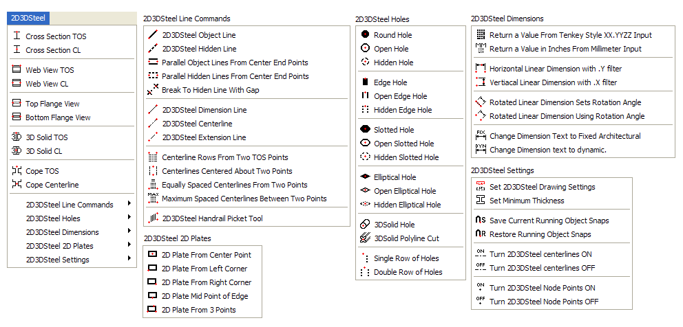 2D3DSteel pulldown menus as they appear in AutoCAD